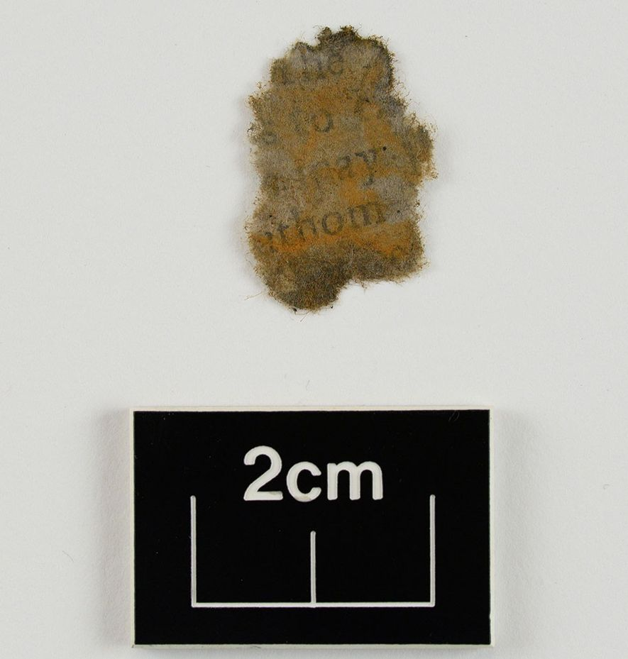 A paper fragment, cleaned and dried after removal from the cannon chamber, reveals text.