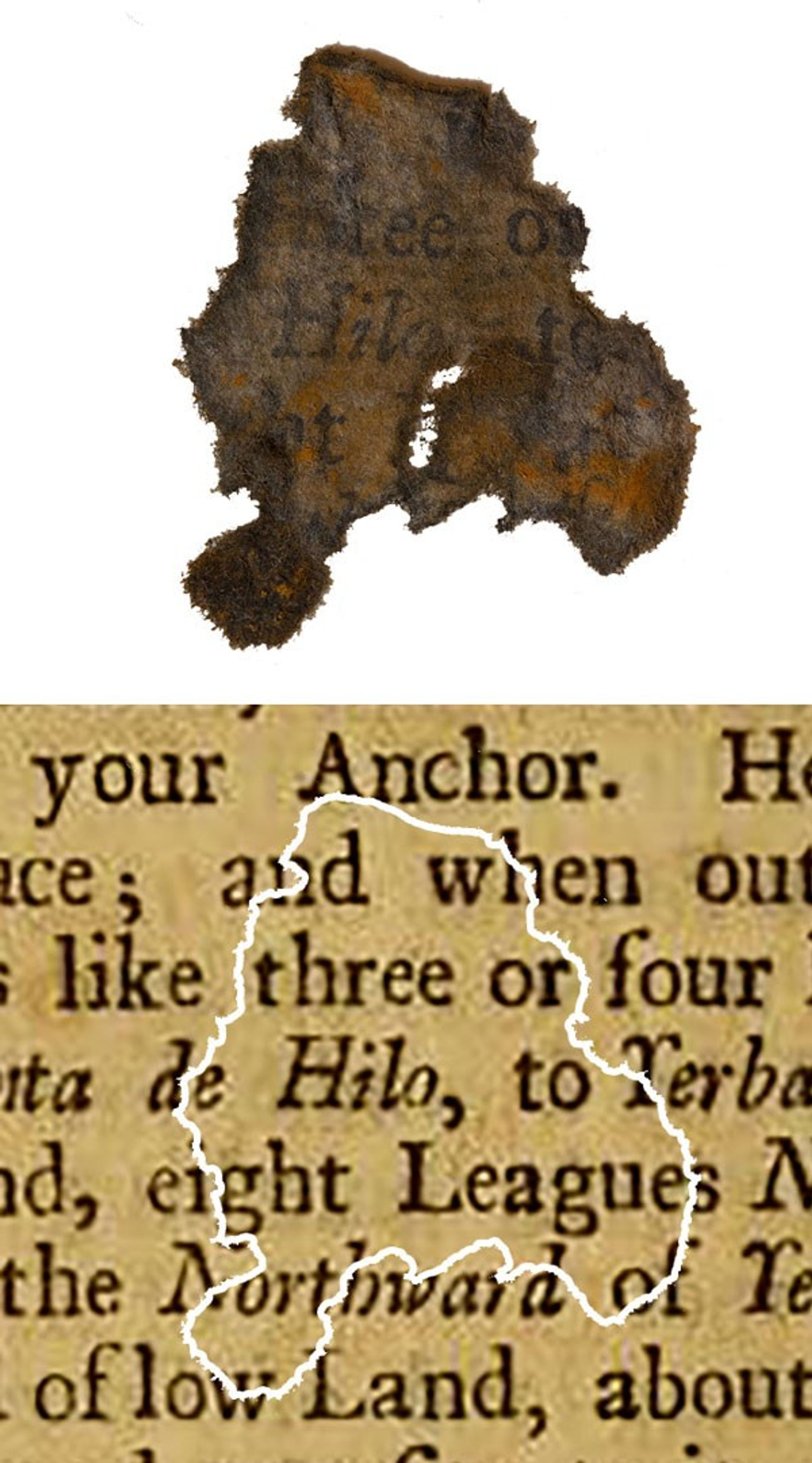 <p>A fragment of paper discovered on Blackbeard's flagship <i>Queen Anne's Revenge</i>, compared with the book it was determined to be from.</p>