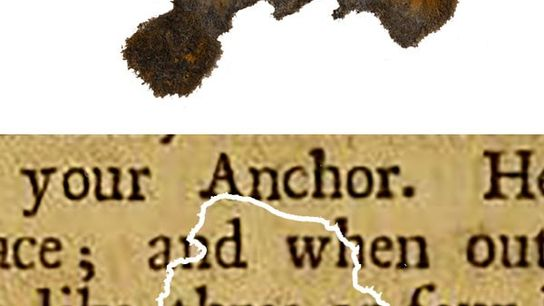 A fragment of paper discovered on Blackbeard's flagship Queen Anne's Revenge, compared with the book it ...