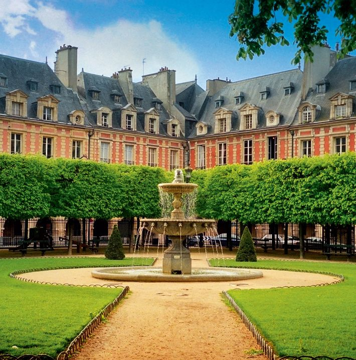 Place des Vosges in Paris, a square built between 1605 and 1612, and the scene of ...