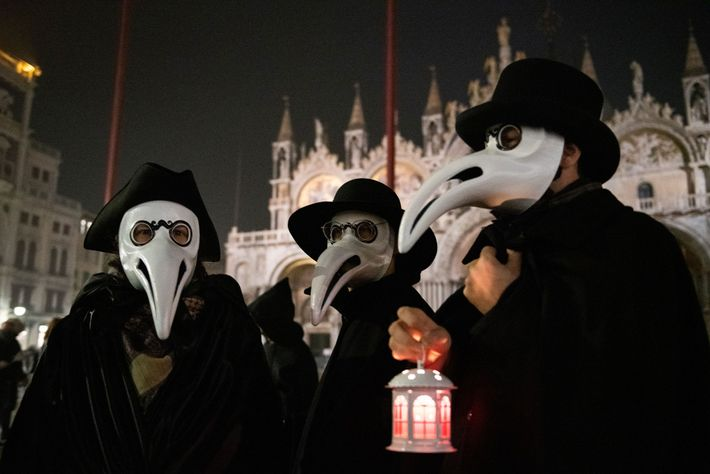 Venetians dress as plague doctors to celebrate the city's Carnival. This year, the last two days ...