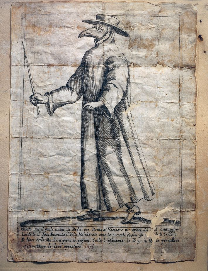Plague doctors—who wore beaked masks containing aromatic substances, waxed coats, and gloves—were common during the bubonic ...