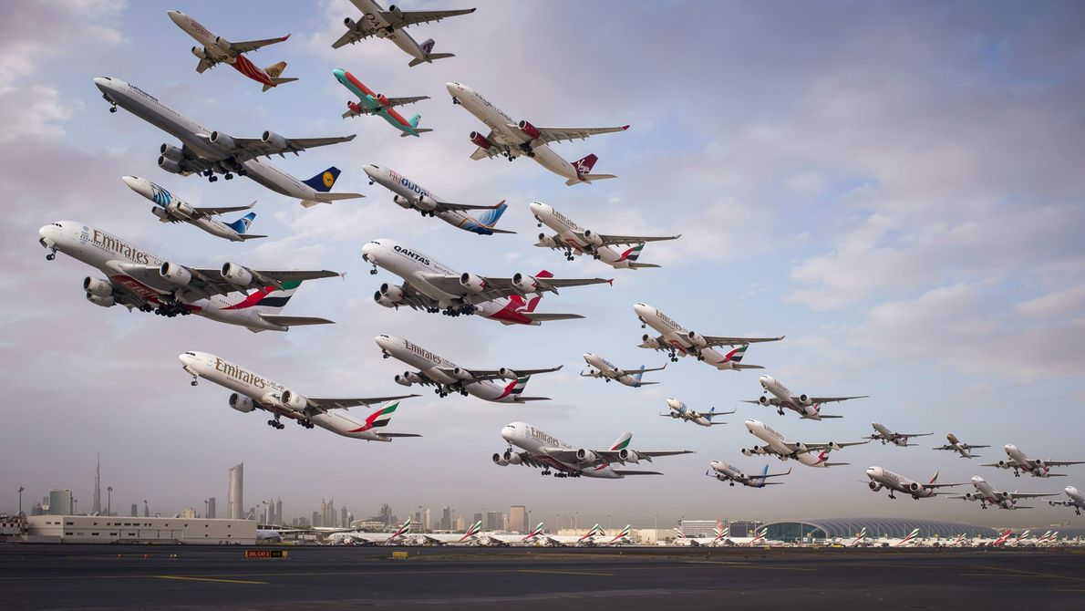 This composite image shows the early morning departures from Dubai Airport's runway 12R.