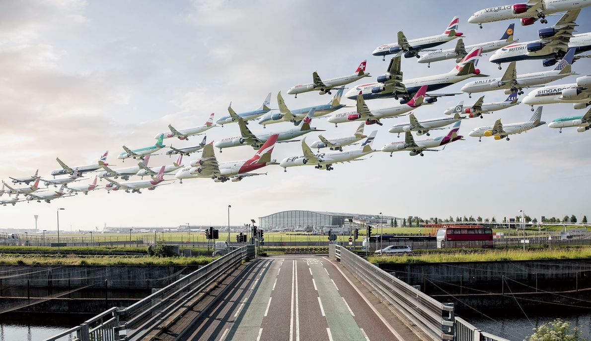 This composite image was created at London Heathrow Airport's runway 09L between 7 a.m. and 10 ...