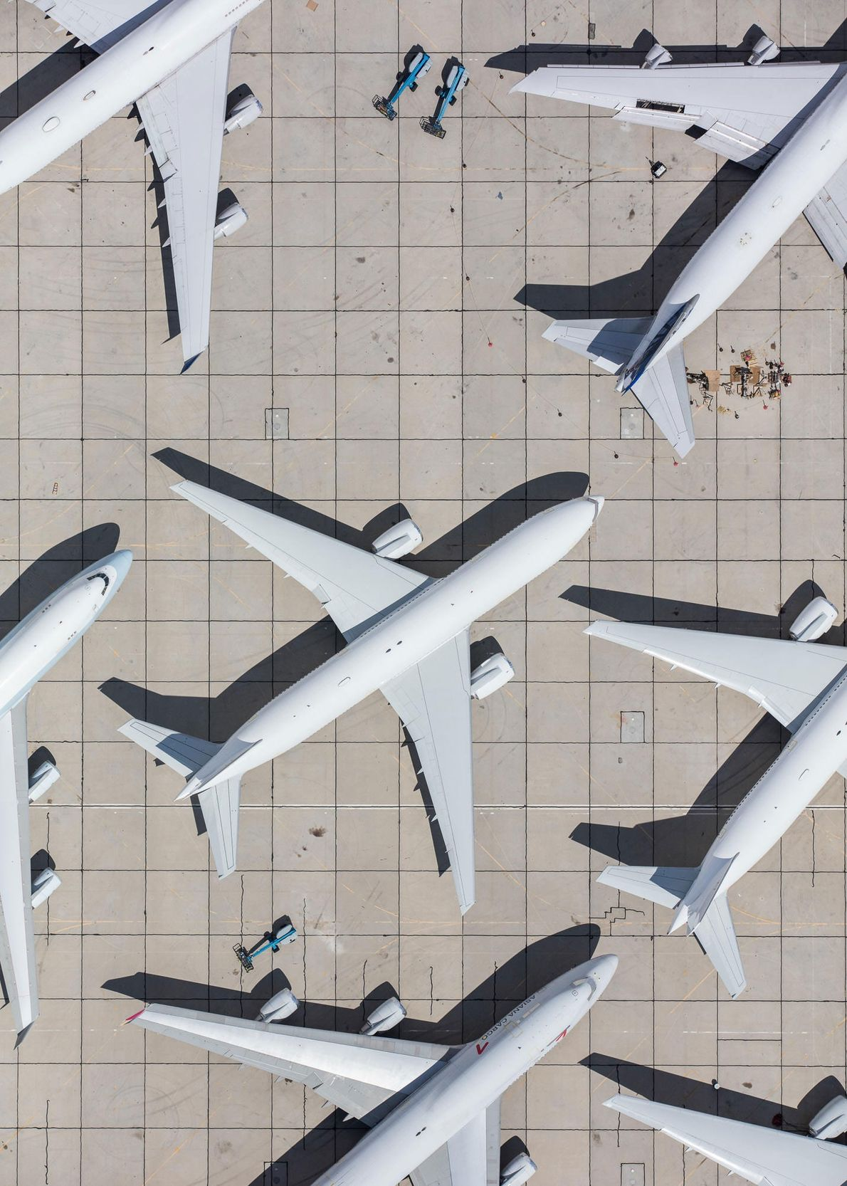 Aircraft await maintenance in Victorville, California.