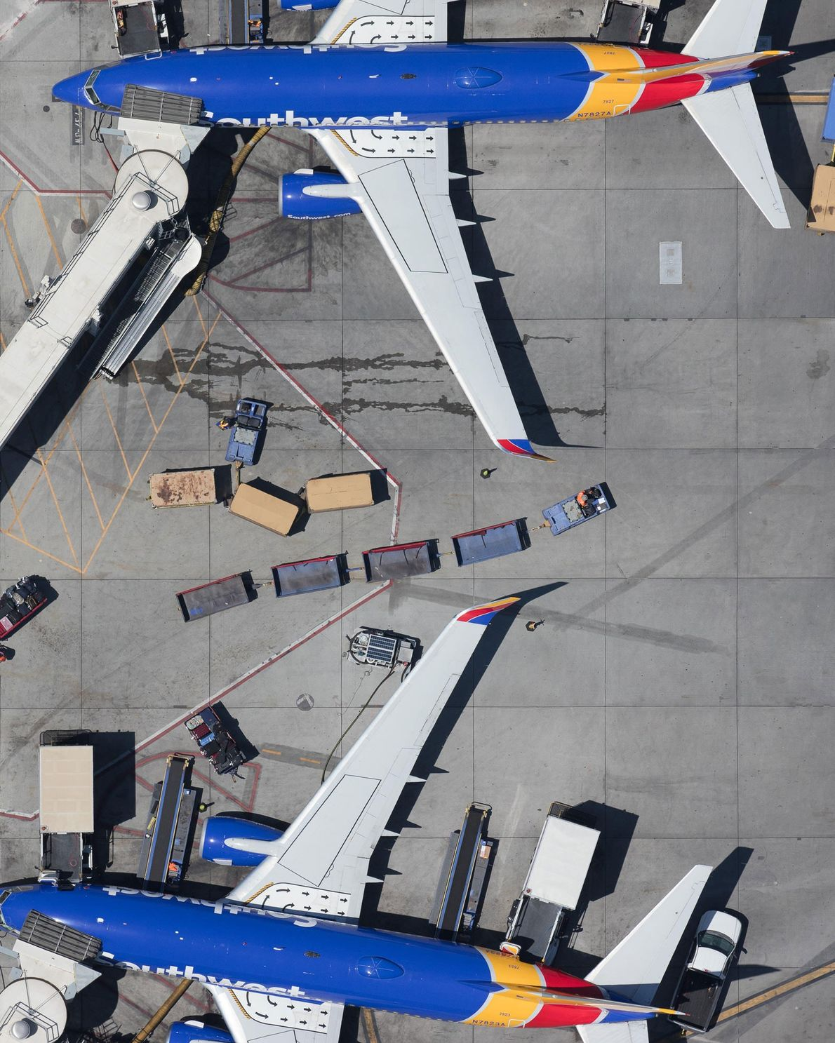 Boeing 737s, operated by Southwest, wait at Terminal 1 at LAX.