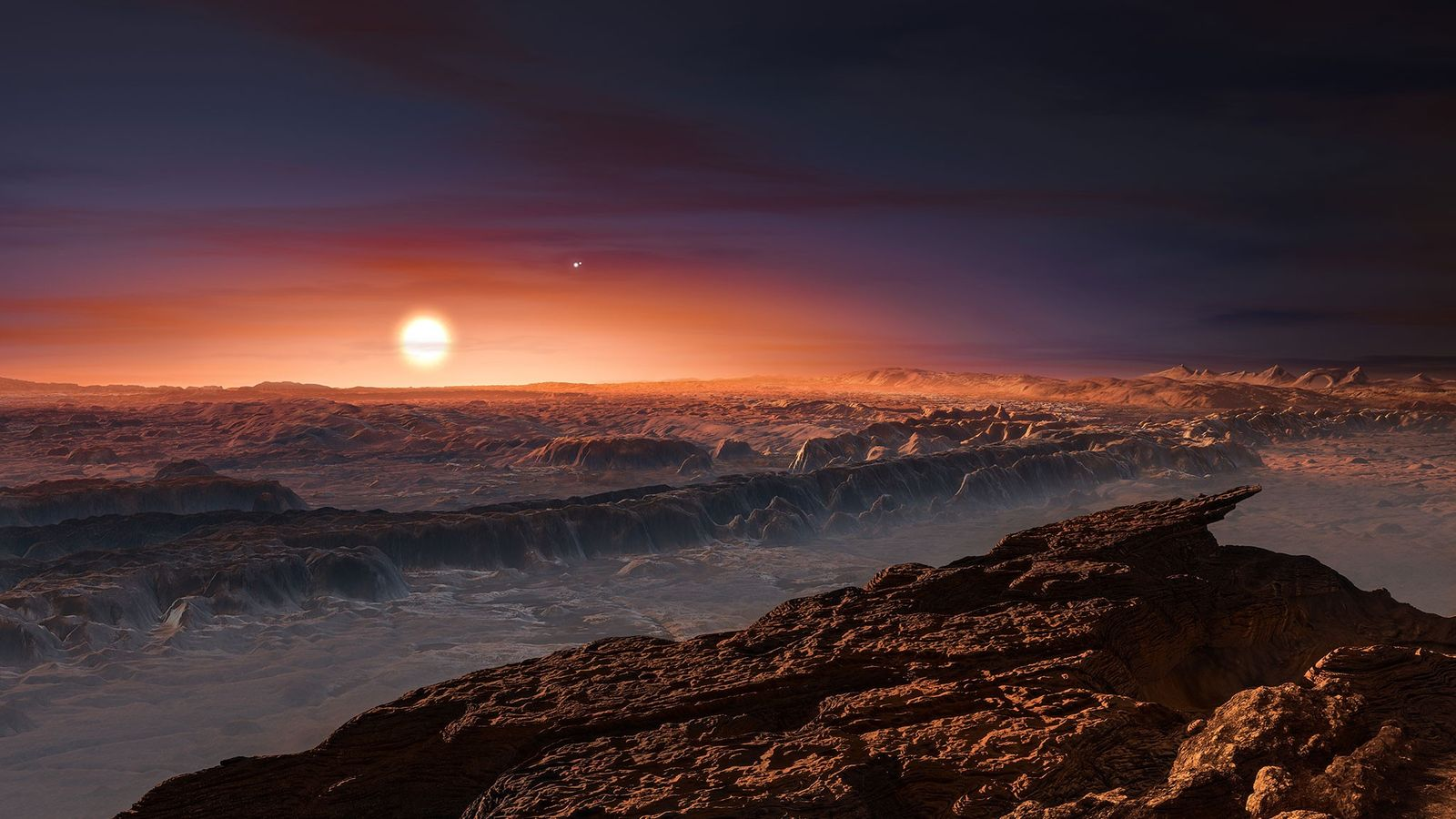 The red light of the star Promixa Centauri falls over the surface of the planet Proxima ...