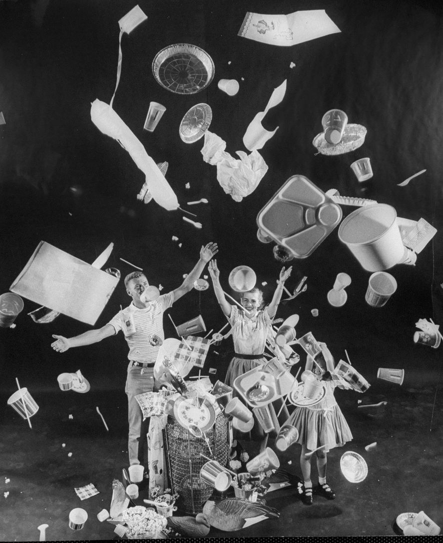 "In Life magazine in 1955, an American family celebrates the dawn of ""Throwaway Living,"" thanks in ..."