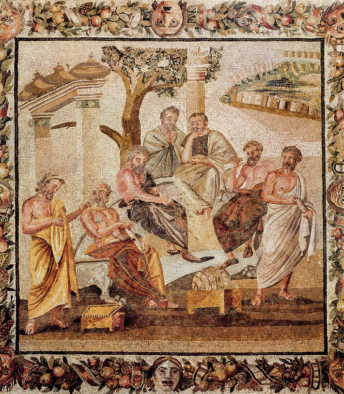 Plato converses with his pupils in a mosaic from the House of T. Siminius, Pompeii. Dated ...