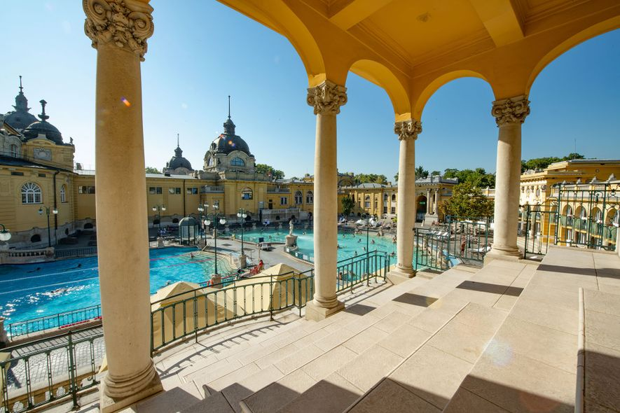 A neo-baroque palace houses the Széchenyi Thermal Baths, located in City Park in Budapest. Once used ...