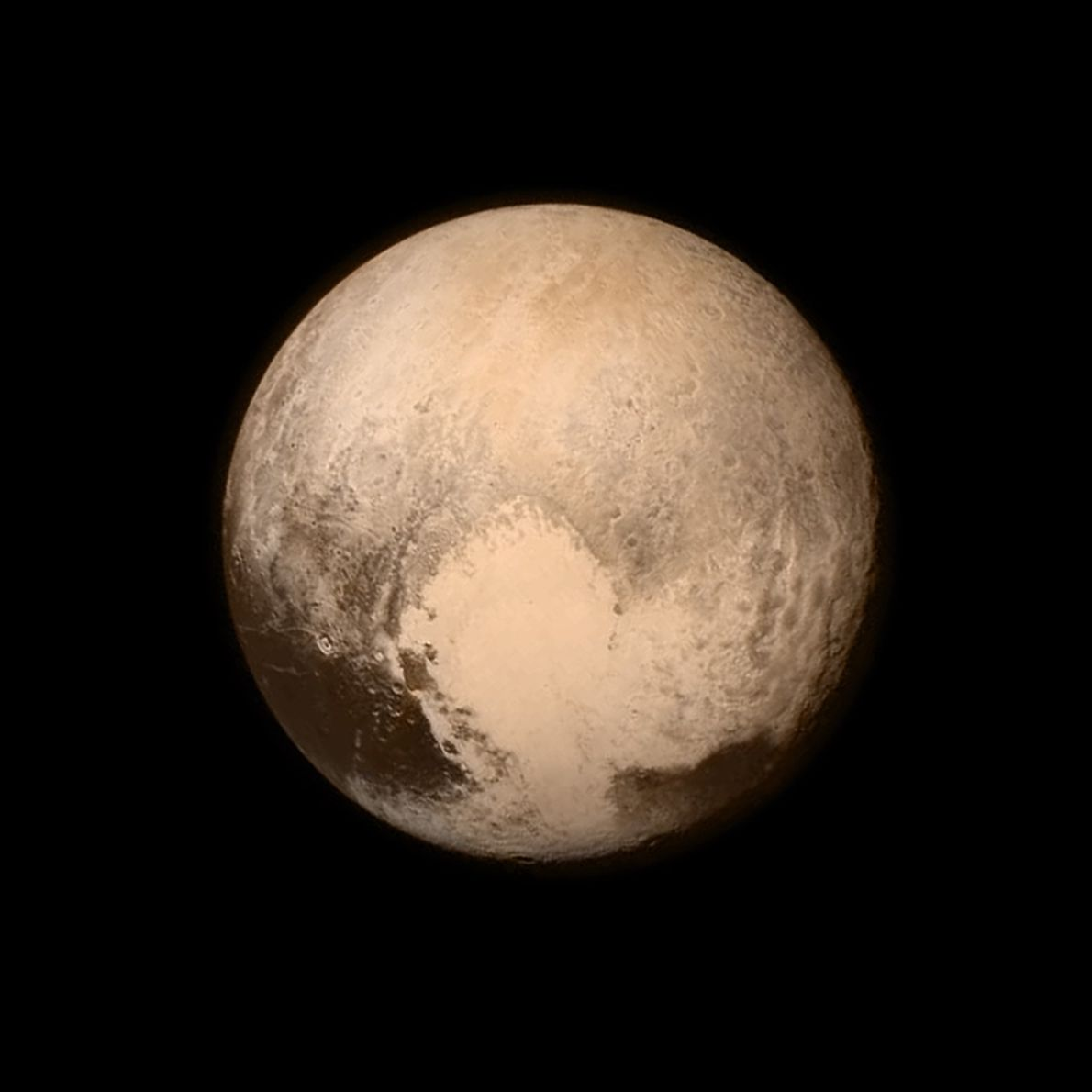 Pluto nearly fills the frame in this black and white image from the Long Range Reconnaissance ...
