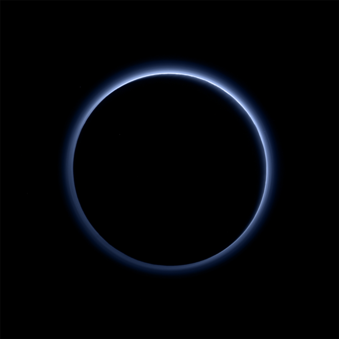 Pluto's haze layer shows its blue colour in this picture taken by the New Horizons Ralph/Multispectral ...