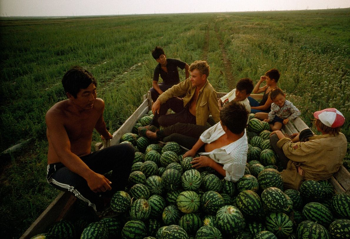 Korean farmers, whose parents immigrated to Crimea in the 1930s, rest with their Russian workers after ...