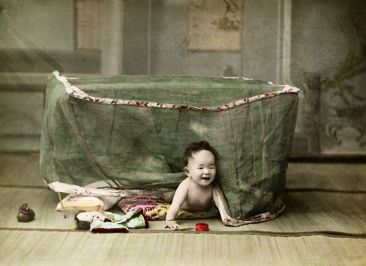 The July 1914 issue featured 11 colourised photographs of young children at work and play in ...