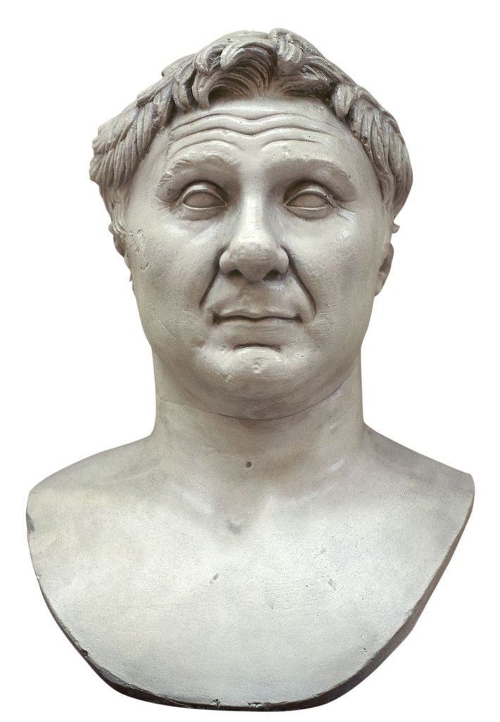 Roman general Pompey (in a first-century B.C. bust) launched a campaign against piracy in 67 B.C., ...