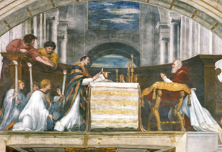 """Pope Julius II kneels in an early 16th-century fresco, """"The Mass at Bolsena,"""" by Raphael. In ..."""