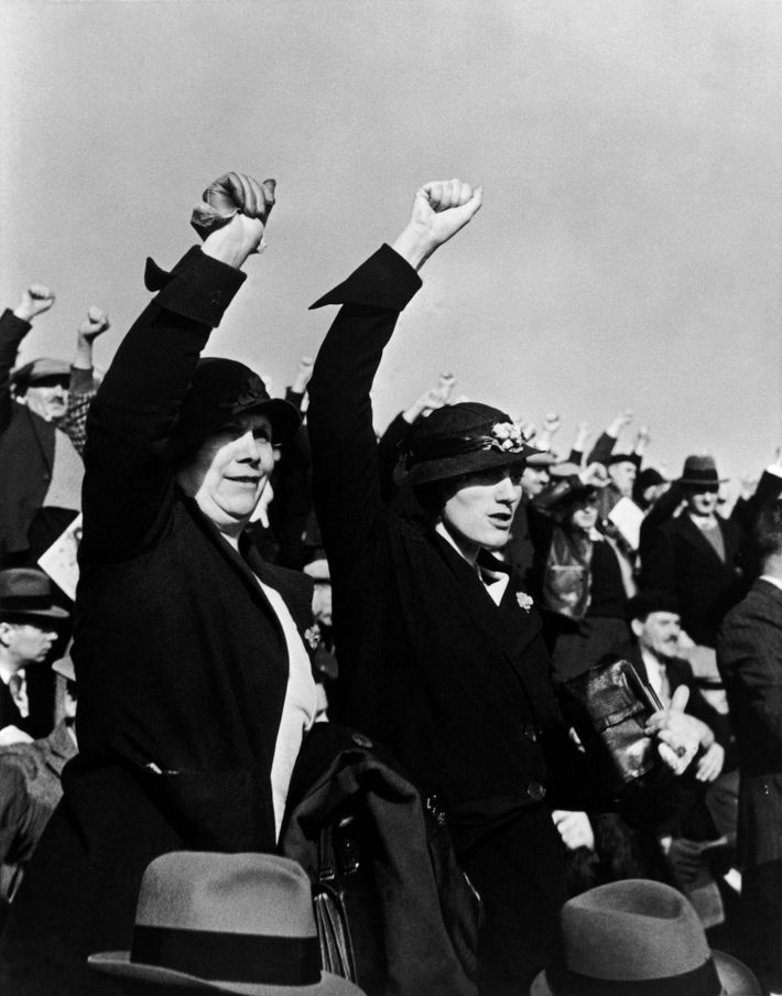 In 1936, a Parisian crowd demonstrates its support for the Popular Front, a coalition of socialists, ...