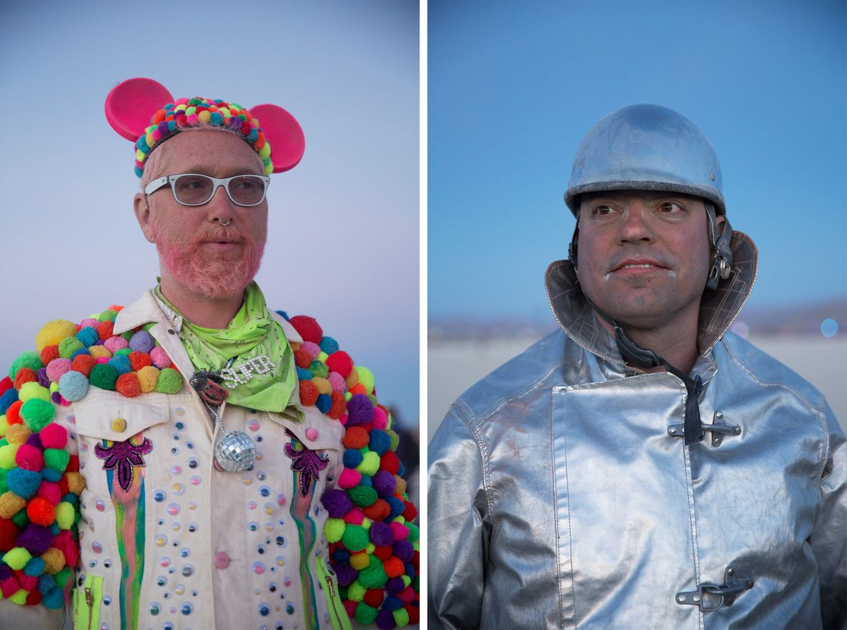 Frisk (left) has been attending Burning Man since 1996. Silver Guy (right), from Portland, has been ...
