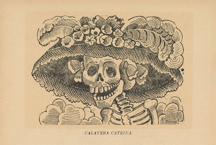 The original cartoon of La Calavera Catrina, by Mexican artist José Guadalupe Posada. It is thought ...