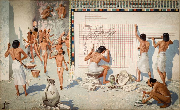 Egyptian artisans prepare the walls of a tomb for                    decoration. Plaster is applied and smoothed (left),                    ...