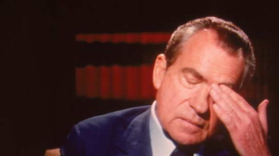 Former president Richard Nixon rubs his forehead during an interview with British journalist David Frost two ...
