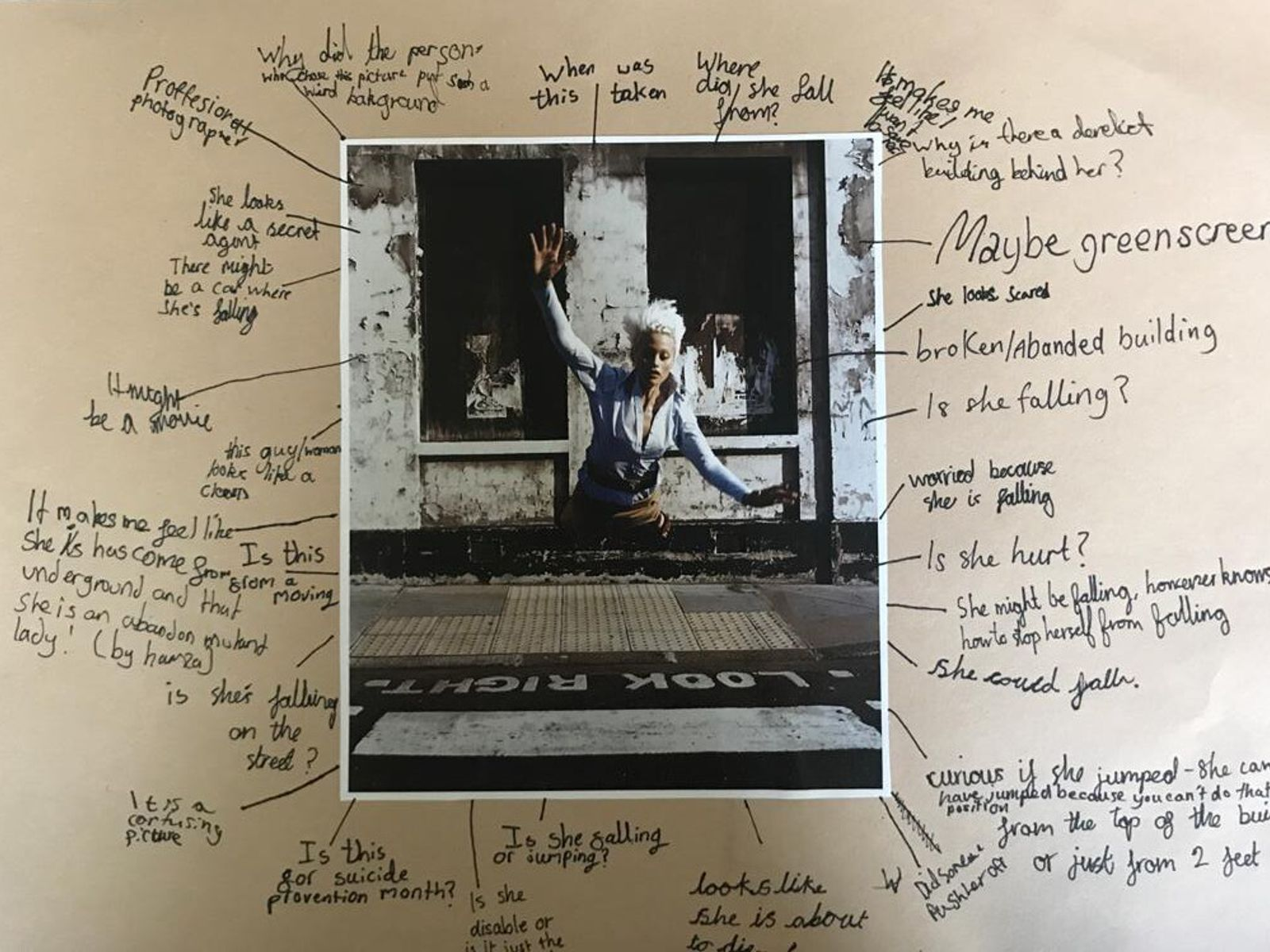A 'mind-mapping' workshop exercise articulates childrens' responses to an image at Primrose Hill Primary School, London, as ...