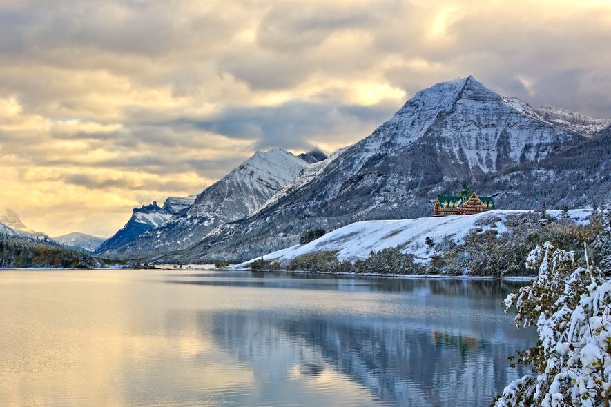 The Prince of Wales Hotel sits at the edge of Waterton Lake in Waterton Lakes National ...