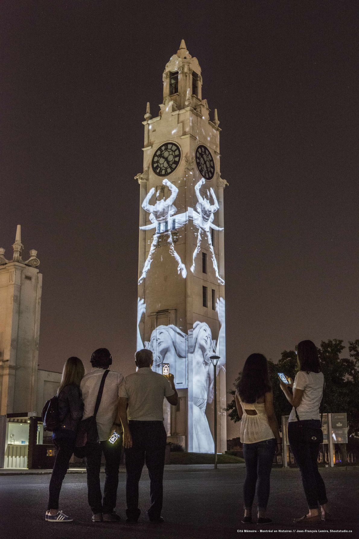 Projected ghosts from the past illustrate the many stories told through the Cité Mémoire app and ...