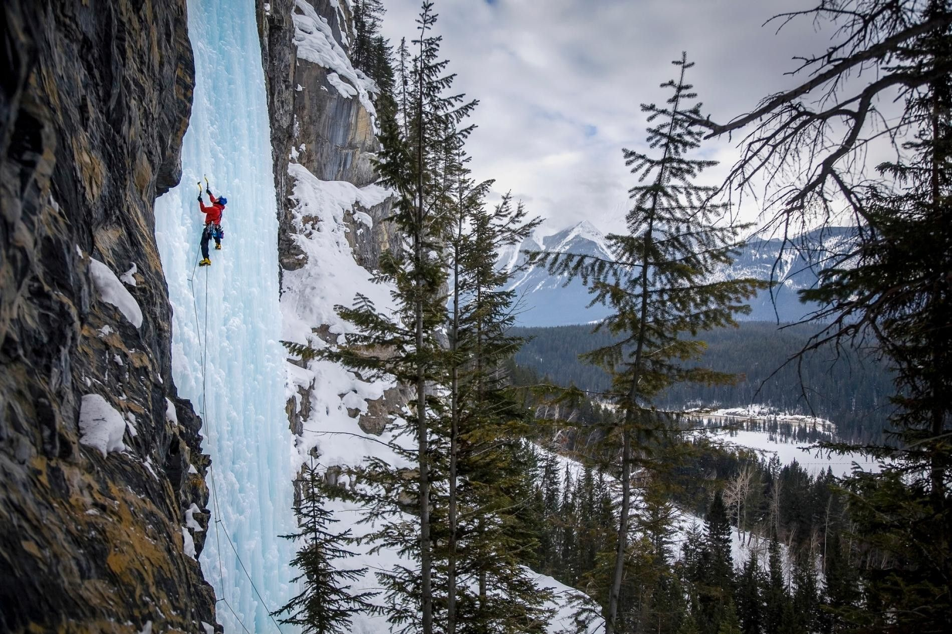 Experience the thrill of climbing frozen waterfalls in Alberta, an activity suitable for interested beginners, and ...