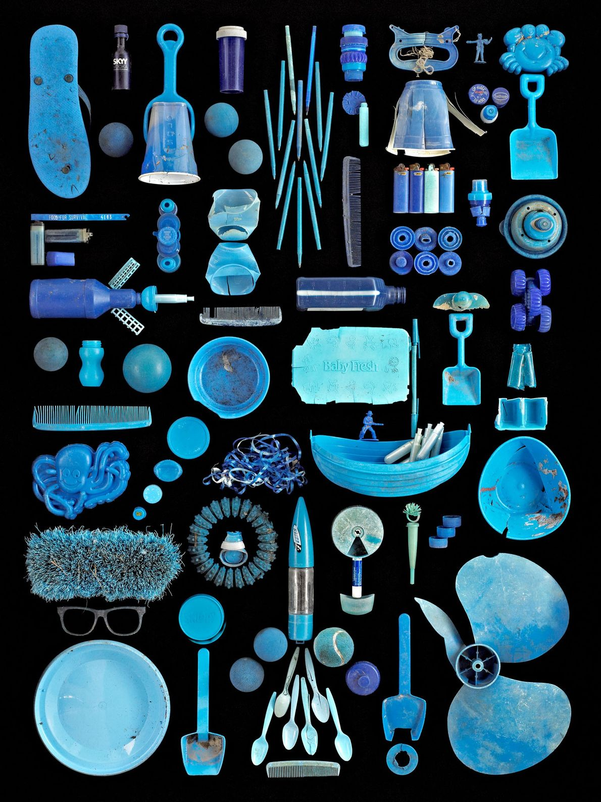 Artist Barry Rosenthal builds these assemblages to illustrate the extent of marine pollution. He keeps trash ...