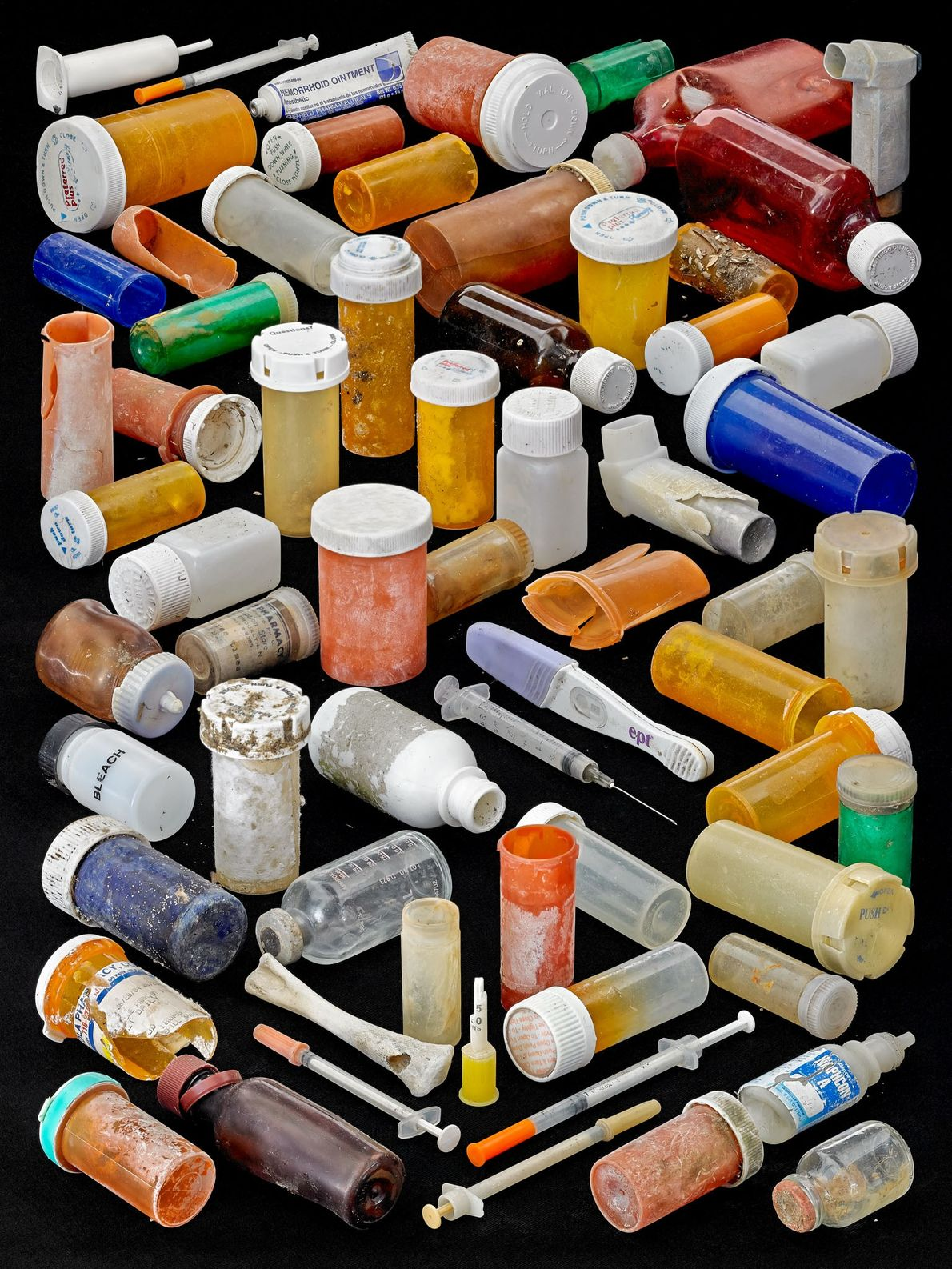 Even pharmaceutical waste, including pill containers, syringes, and inhalers, finds its way to the beach.