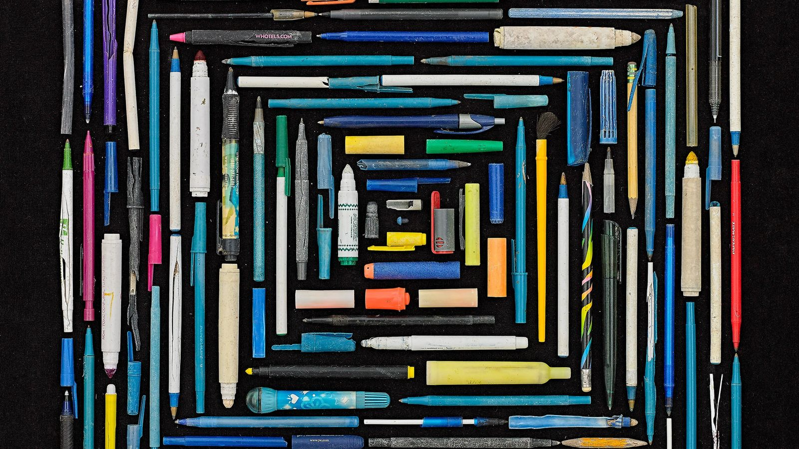 Rosenthal created an angular portrait out of pens, pencils, and markers. He finds the writing utensils ...