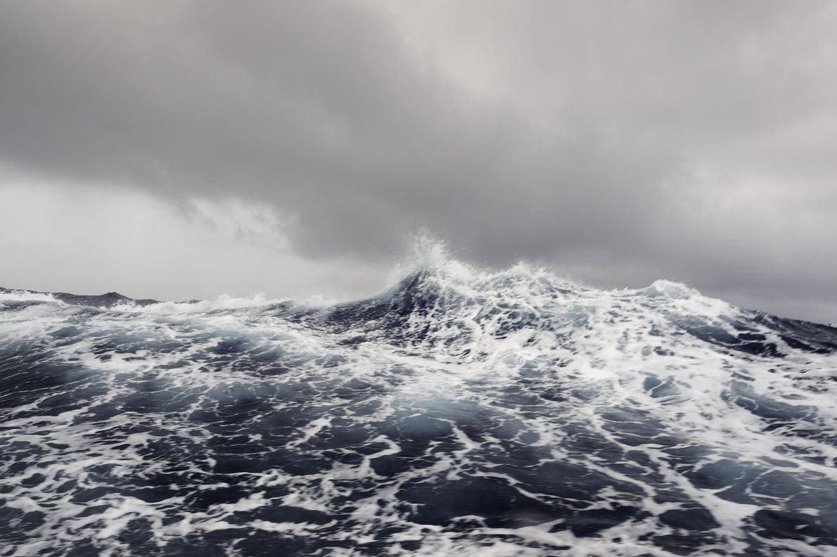Rough seas in the south central Pacific Ocean. The Phoenix Island Protected Area is in the ...