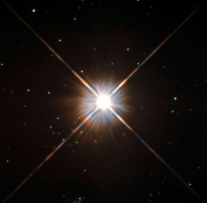Our closest stellar neighbor, Proxima Centauri, as seen by the Hubble Space Telescope.