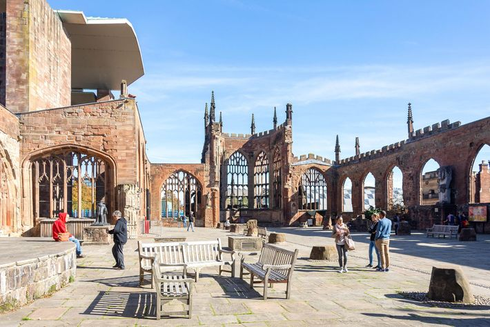 Coventry's old cathedral, built between the late 14th and early 15th centuries, was bombed heavily during the ...