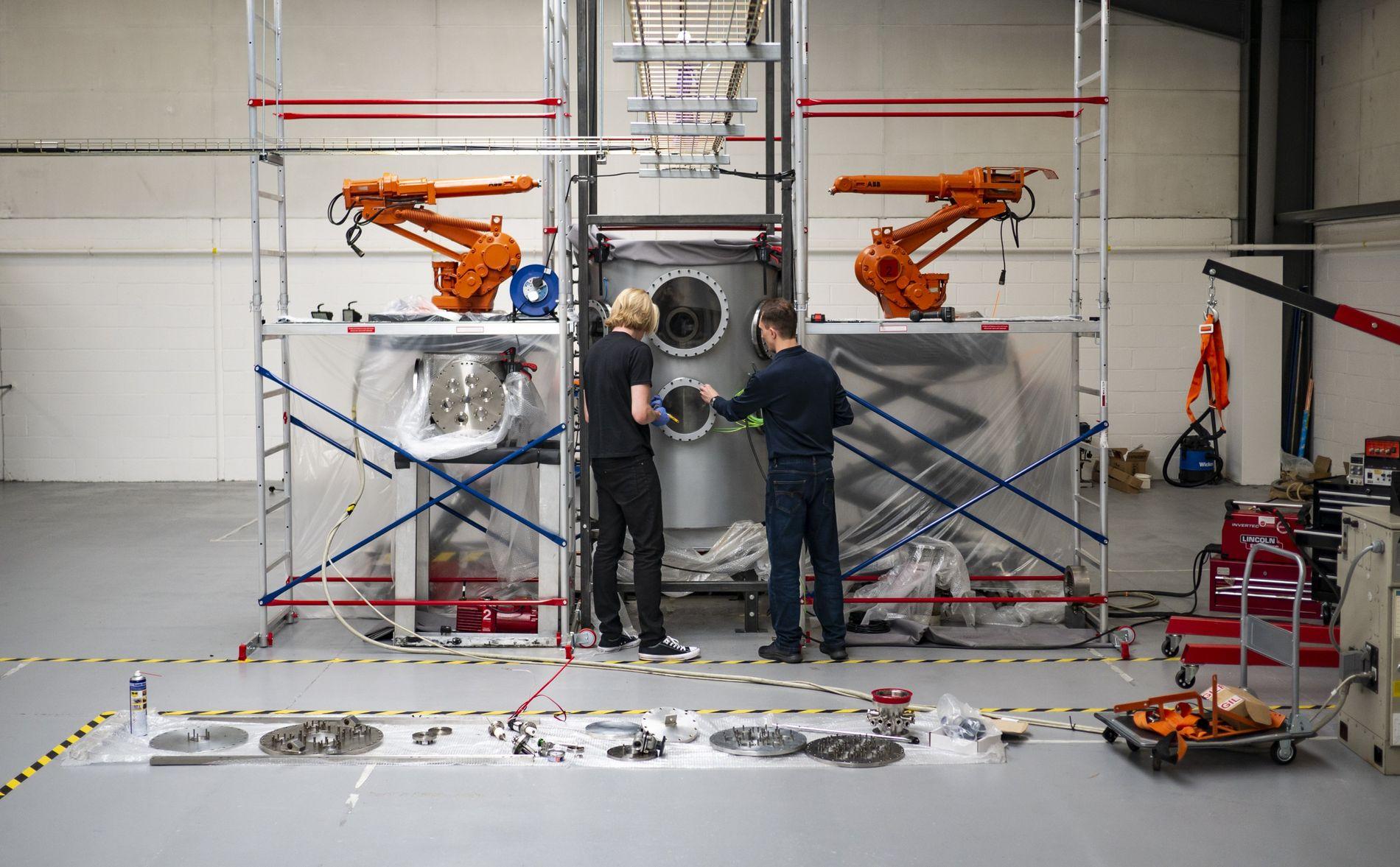 Richard Dinan and Dr James Lambert at work at Pulsar Fusion, Milton Keynes, August 2019.