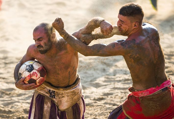 Fighting is a key element of calcio storico. Punching, elbowing, and martial arts are allowed. But ...