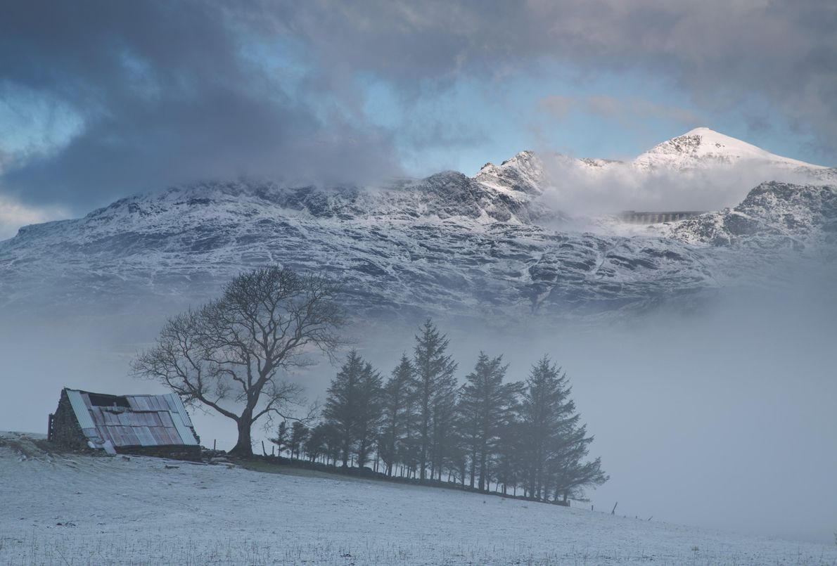 Winter near Blaenau Ffestiniog, beneath the Llyn Stwlan dam. The llyn (lake) and its dam provide ...