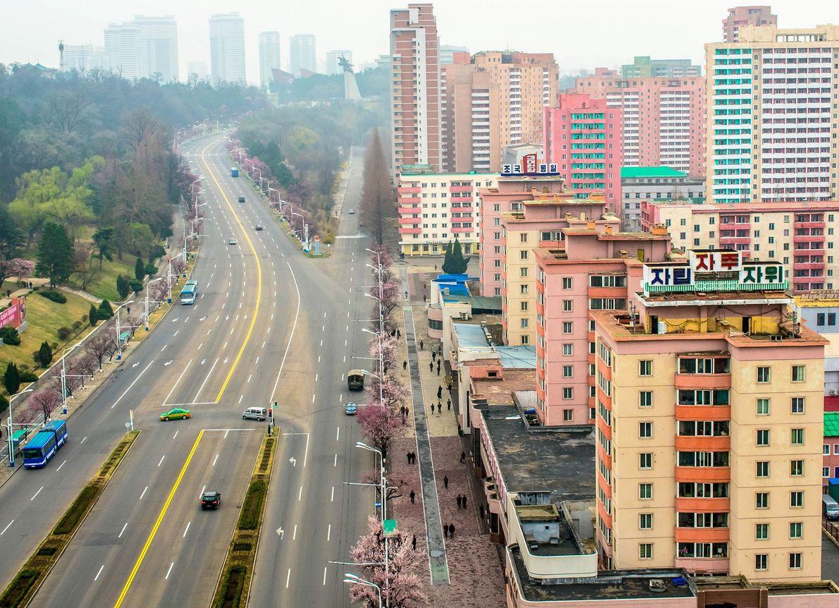 Rooftop views over Pyongyang city, North Korea (DPRK).
