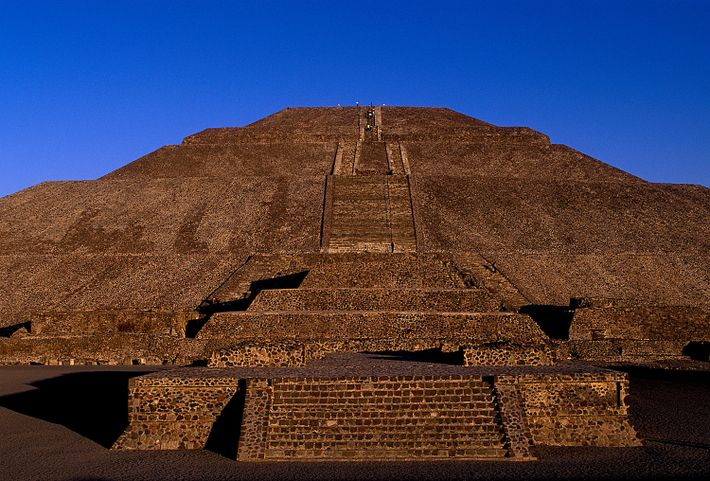 Teotihuacán's Pyramid of the Sun rises up against the cobalt sky in Mexico City.