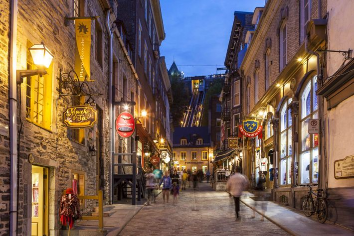 View of the charming Sous Le Fort Street at night, Petit Champlain.