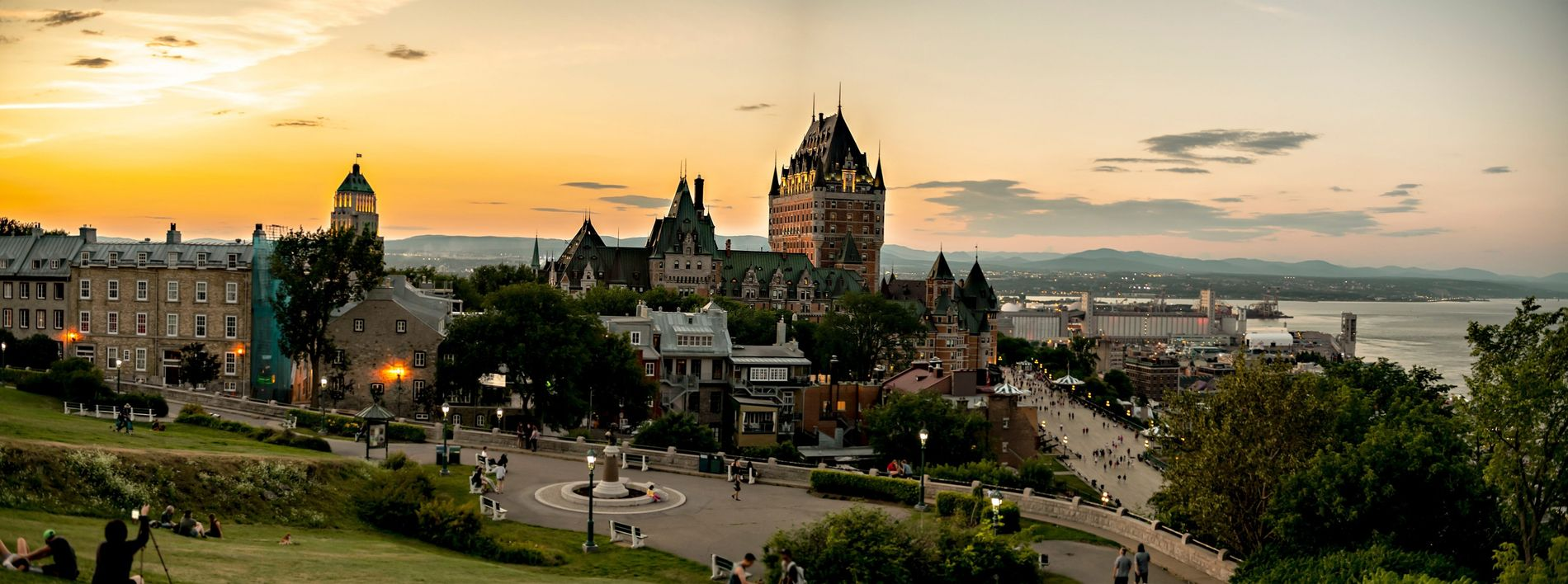 View of beautiful Québec City at sunset. Built on two levels, called Lower and Upper Town, ...