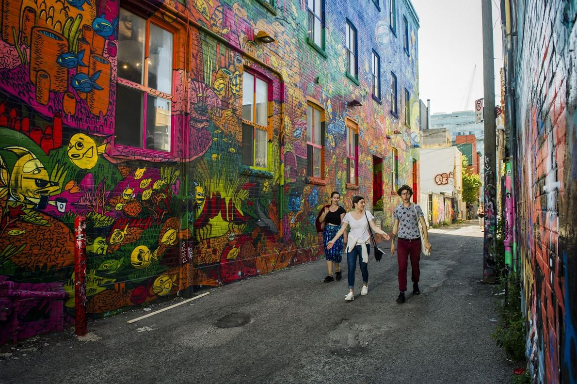 See Queen Street West's colourful walls painted by Toronto's graffiti artists.
