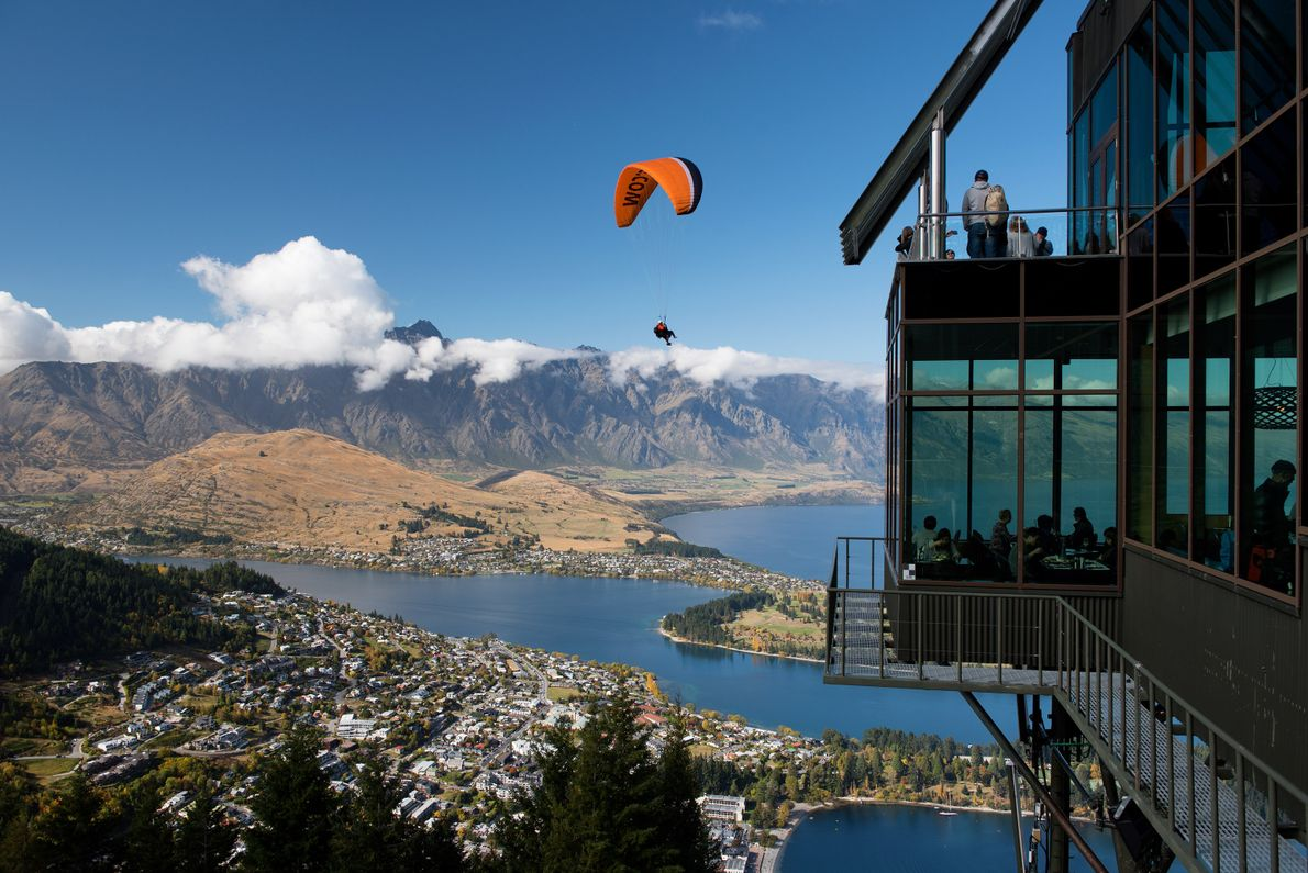The views at the top of the Skyline Gondola include Queenstown, Lake Wakaatipu, and even some ...