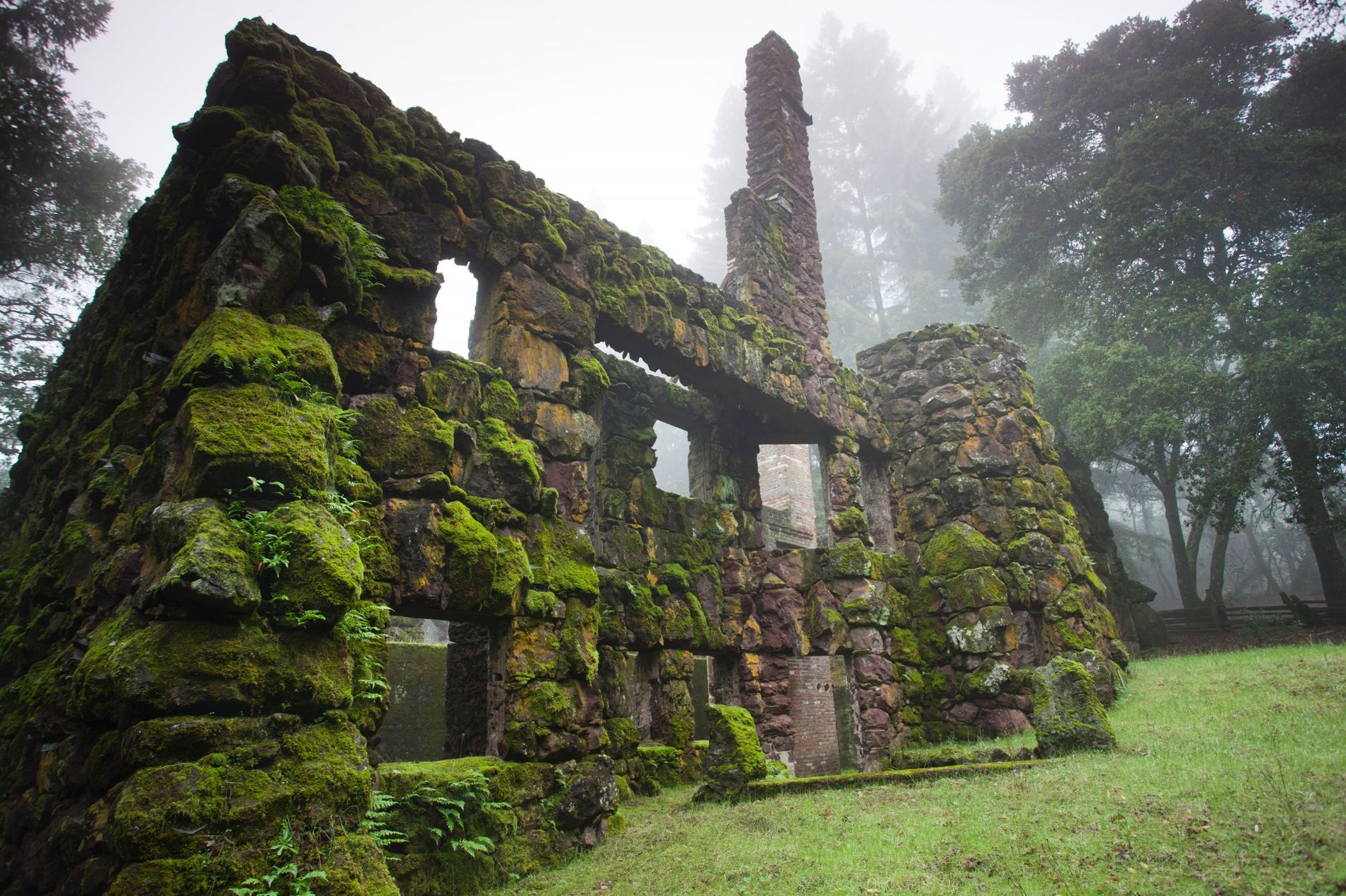 The ruins of Wolf House, in Jack London Historic Park, Glen Ellen, in California's Sonoma County. ...