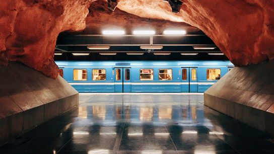 The exposed, unaltered bedrock of Rådhuset (Court House) Station is among the most spectacular stops on ...