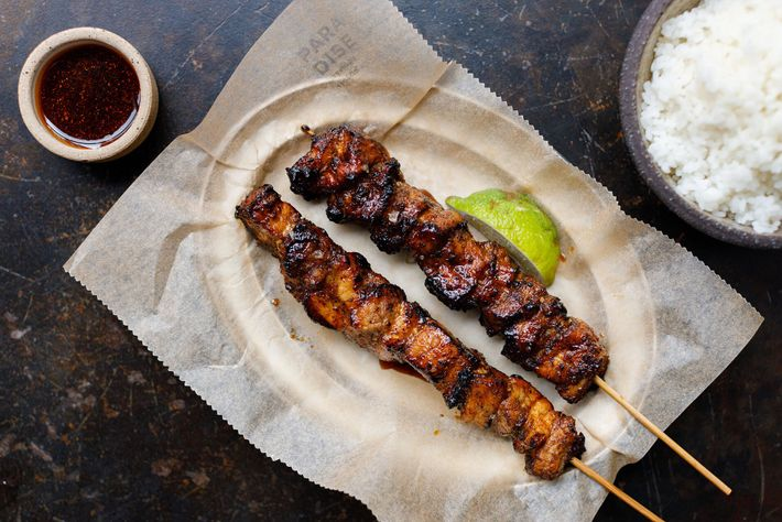 Pork belly skewers at Paradise in Soho, London, put a contemporary spin on this traditional Sri Lankan ...