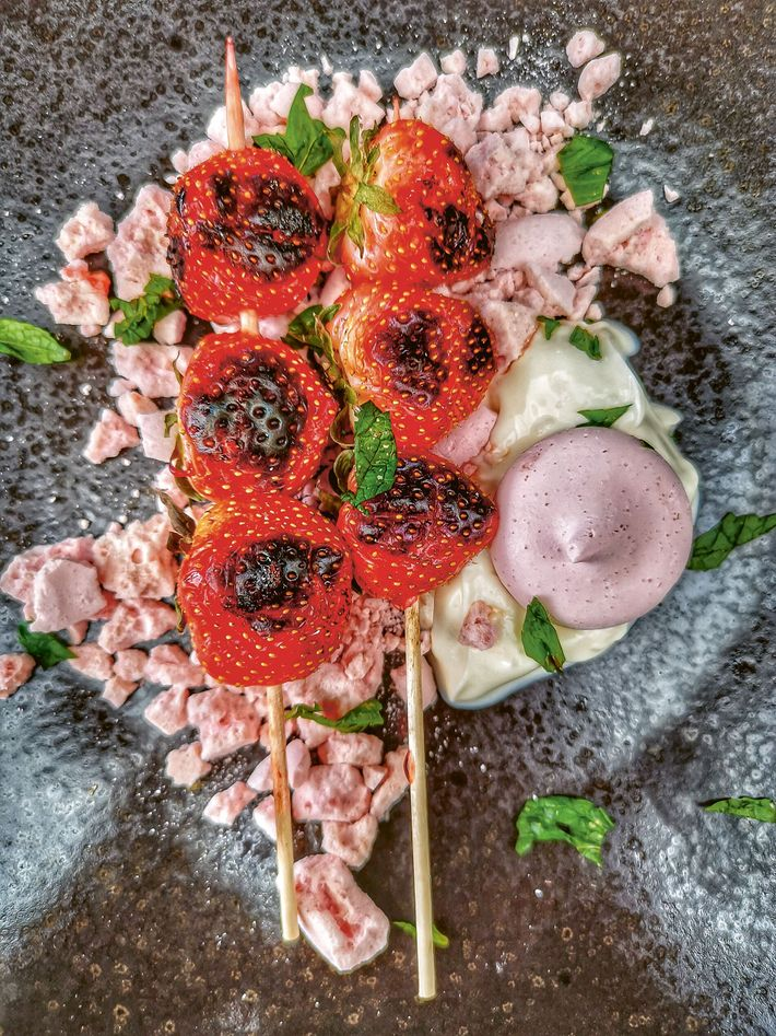 Grilled strawberry Eton mess by Marcus Bawdon
