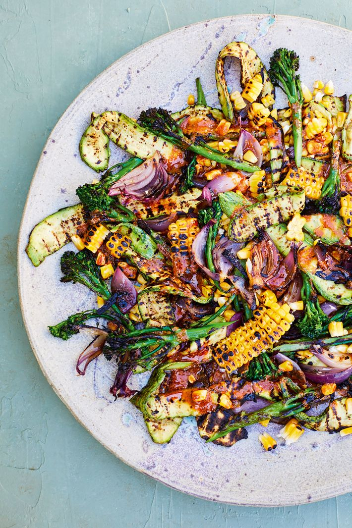 Chargrilled summer vegetables with a dhana jeera dressing.