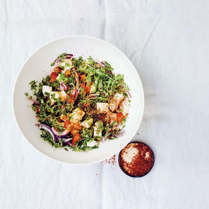 Fresh thyme and halloumi salad.
